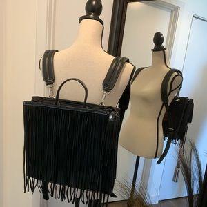 Genuine Leather Fringe Backpack/Handbag